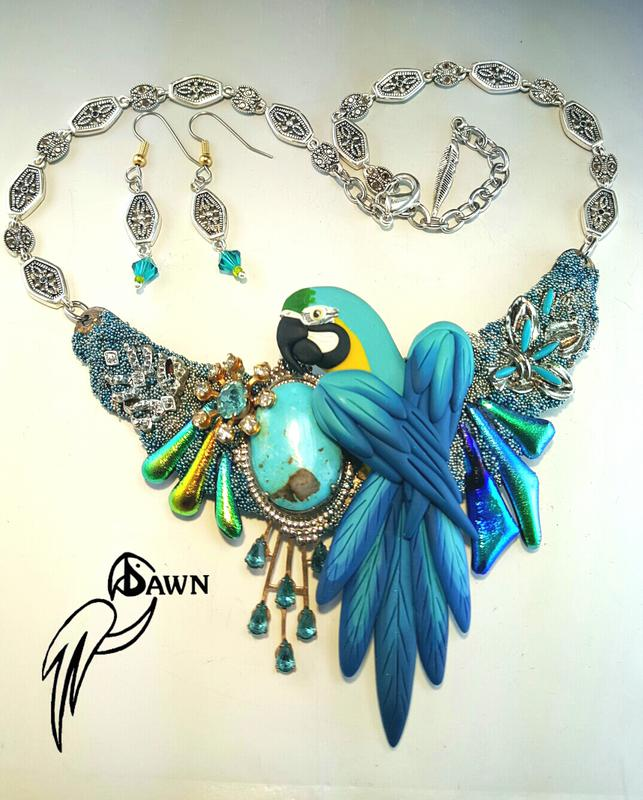 Blue and Gold Macaw Necklace Set