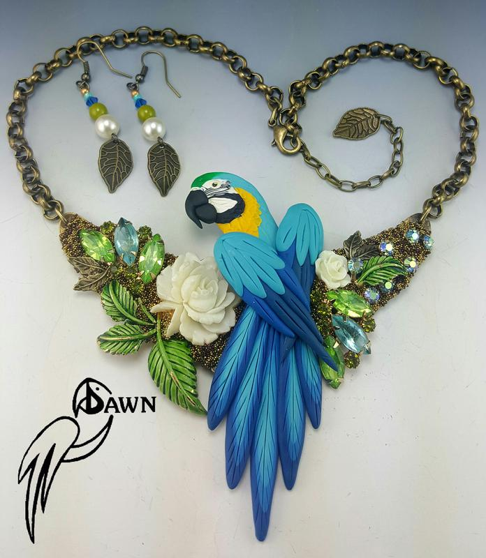 Blue and Gold Macaw Necklace Set with White Rose