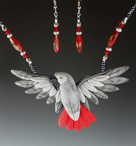 Congo African Grey Open Wing Necklace