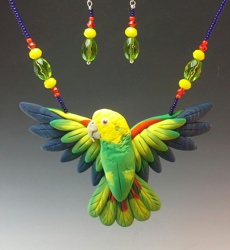 Double Yellow Head Amazon Open Wing Necklace