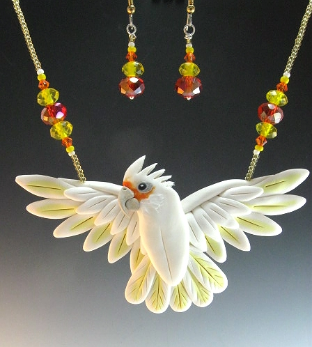 Open Wing Bare Eye Cockatoo Necklace