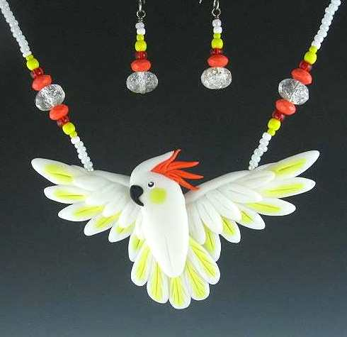 Citron Cockatoo Open Wing Necklace