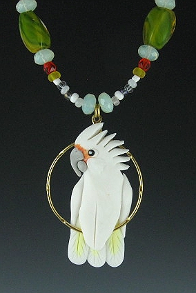 Goffin Cockatoo Beaded Charm  Necklace