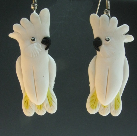 Umbrella Cockatoo Earrings