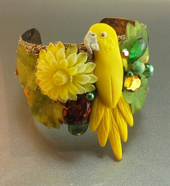 Golden Conure Bird Bling Cuff Bracelet