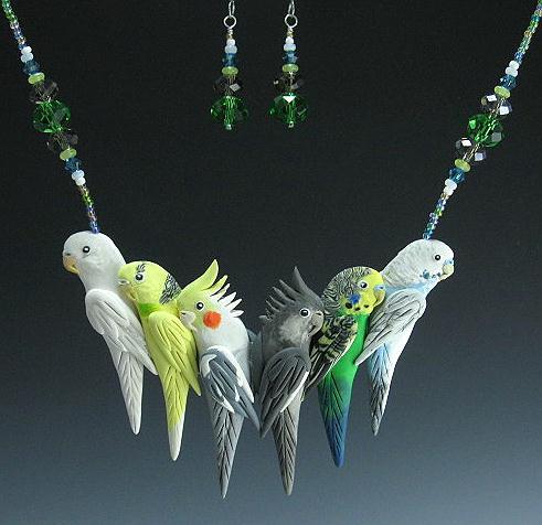 Custom parrot necklace earrings-bird jewelry by dawn