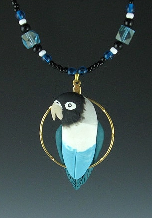 A Blackmask Lovebird Charm Necklace