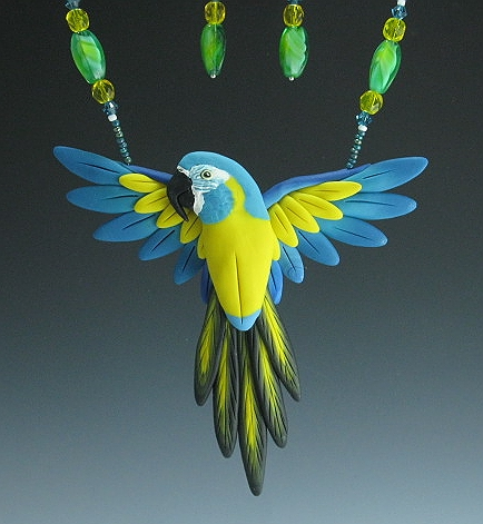 Blue Throat Macaw Open Wing Necklace Set