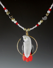 Congo African Grey Beaded Charm Necklace
