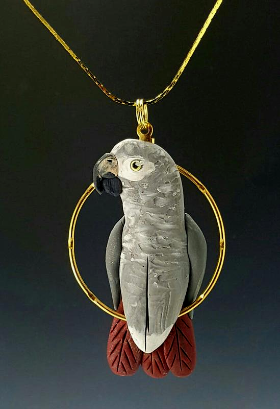 Congo African Grey Charm Necklace on Chain