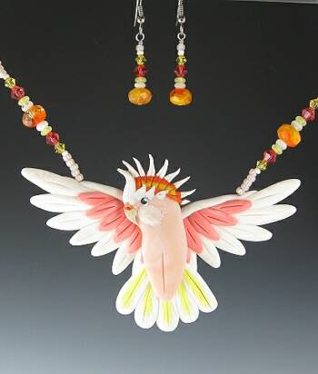 Major Mitchell Cockatoo Open Wing Necklace