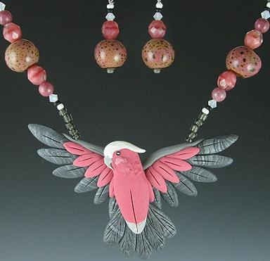 Rose Breasted Cockatoo Open Wing Necklace