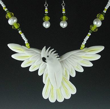 Umbrella Cockatoo Open Wing Necklace