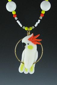 Citron Cockatoo Beaded Charm Necklace