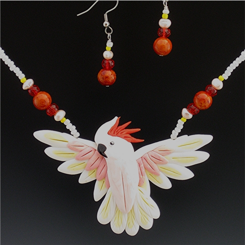 Molucan Cockatoo Open Wing Necklace