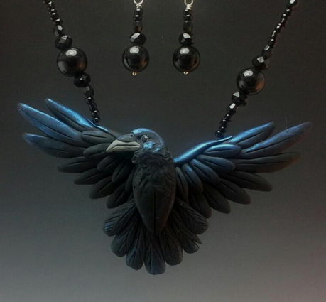 Crow Open Wing Necklace