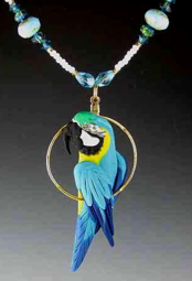 Blue and Gold Macaw Charm Necklace