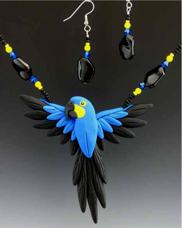 Hyacinth Macaw Open Wing Necklace Set