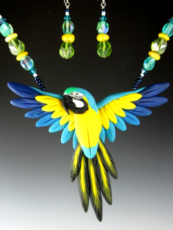 Blue and Gold Macaw Open Wing Necklace Set