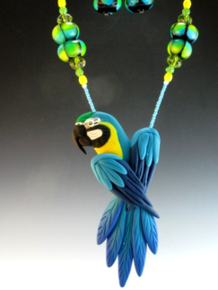 Blue and Gold Macaw Pendant Necklace Set