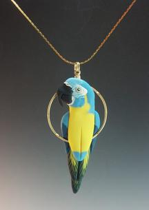 Blue Throat Macaw Charm Necklace