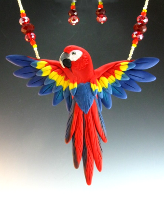 Scarlet Macaw Open Wing Necklace Set