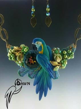 Blue Throat Macaw Necklace Set
