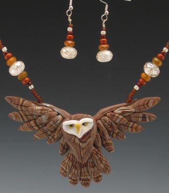 Brown Owl Open Wing Necklace Set