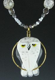 Snow Owl Charm Necklace