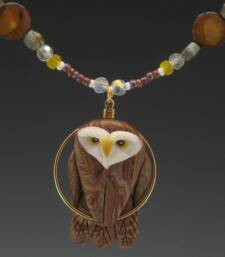 Brown Owl Charm Necklace