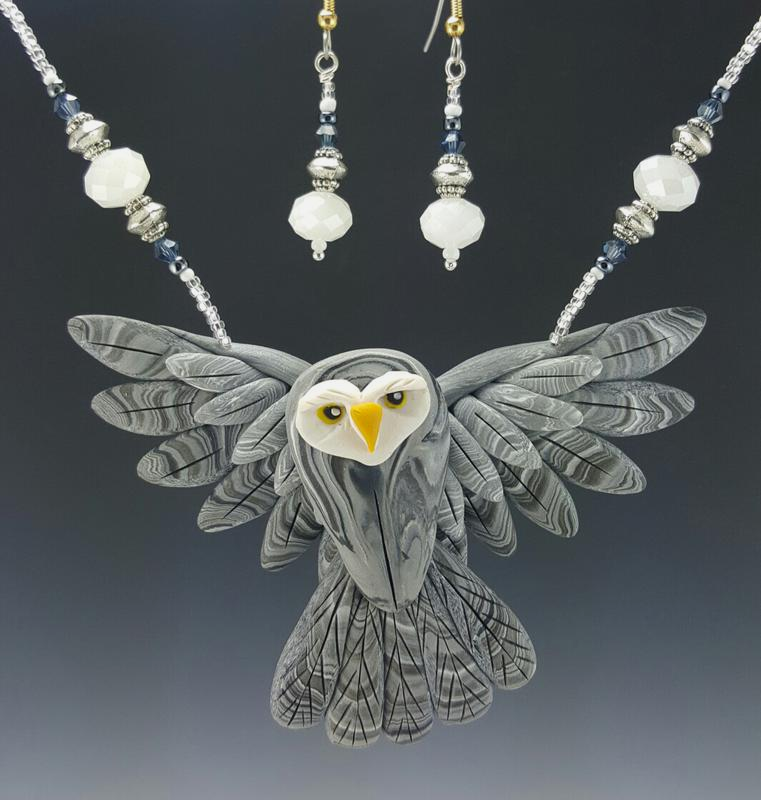 Grey Owl Open Wing Necklace Set