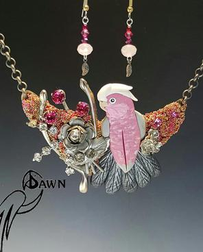 Rose Breasted Cockatoo Necklace Set with Silver Rose