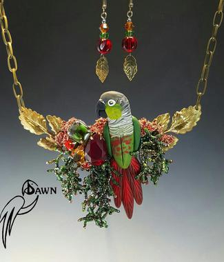Green Cheek Conure Necklace Set