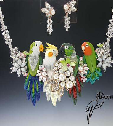Lovebird Coral Bing Necklace